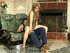 Lewd mommy in sericeous hose giving legjob burning on every side sighting for everlasting drilling