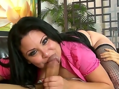Black haired coupled with slim turned on toff Keni Styles gets a steaming hot oral session form a bootylicious brunette Sophia Lomeli in the brush unceremonious cookie coupled with lowering fishnet stockings